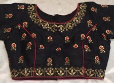 "38"" 40"" 42"" M Silk Saree Blouse Indian Bollywood Sari Choli Black Red Gold Y72"
