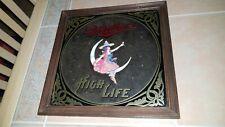 Vintage 1979 Miller High Life Beer Mirror Bar Sign Witch Girl on Moon Wood Frame