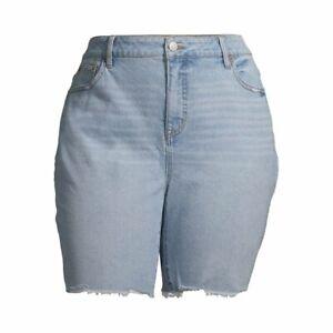 Terra & Sky Women's Plus Size Bermuda Shorts w/Frayed Hem Size 20W Light Wash