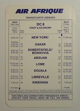Air Afrique Airlines 1973   Timetable   - Transatlantic Services