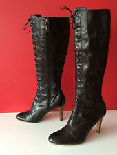 M&S Marks & Spencer Brown Leather Retro Side Zip Knee High Boots Size 4 EUR37