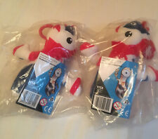 LONDON OLYMPICS 2012 WENLOCK MASCOT SOFT TOY OFFICIAL KEYRING GB UNION JACK x2