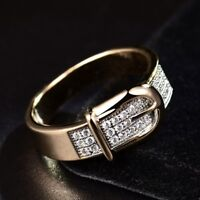 Enchanting Women White Rhinestone Crystal Bead Two Tone Gold Filled Ring Jewelry