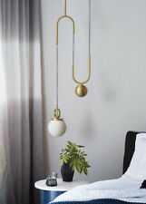Post Modern Style White Glass Pendant Pulley Flos E27 Ceiling Lamp Fixture Brass