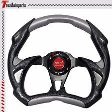 JDM Racing 320mm 6-Hole Steering Wheel Carbon Fiber Silver PVC w/ Red Emblem