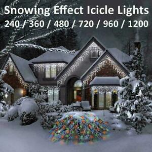 LED Icicle Snowing Effect Lights Wedding Party Xmas Christmas Memory Timer