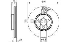 1x BOSCH Disco de freno delantero Ventilado 316mm Para FORD S-MAX 0 986 479 C19