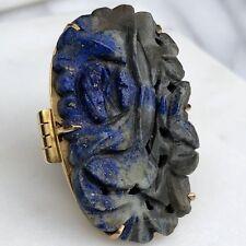 18K Yellow Gold Art Nouveau HUGE Lapis Lazuli Ring Hand Carved Dark Blue Black