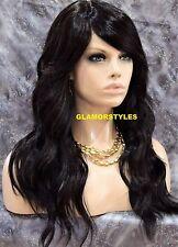 Long Beach Wavy Black Auburn Mix Full Lace Front Wig Heat Ok Hair Piece NWT