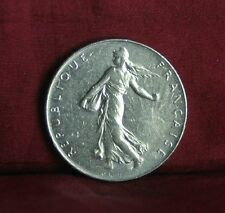 1977 France 1 Franc Nickel World Coin KM925.1 Female Seed Sower Laurel Branch