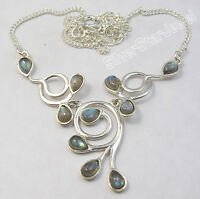 925 Sterling Silver BLUE FIRE LABRADORITE Gems BESTSELLER Necklace 16.8""