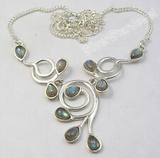 "925 Sterling Silver BLUE FIRE LABRADORITE Gems BESTSELLER Necklace 16.8"""