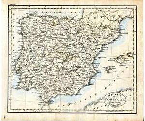 Spain Portugal Early 19th Cent 1808 Copper Engraving Hand Colored Map J. Russell