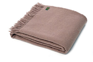 TWEEDMILL TEXTILES SOFA BED THROW BLANKET  100% PURE WOOL - PLAIN WEAVE TAUPE