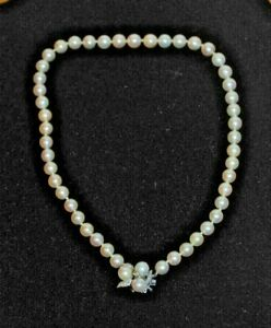 """Gorgeous Cultured Pearl Necklace 14K WG Diamond & Pearl Clasp 7mm From the 50""""s"""
