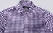 Men's POLO RALPH LAUREN Purple Blue White Plaid Shirt XXL 2XL NWT NEW Blue Pony