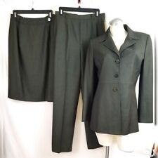 Carlisle Size 8 Wool Blend Skirt Pant Suit 3 Piece Hunter Green