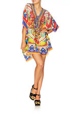 new CAMILLA FRANKS SILK SWAROVSKI RIO RIOT LACE UP KAFTAN TOP
