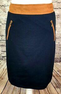 Laura Ashley Lined Skirt Stretch Navy Blue Tan Trim Zip Pockets Work UK Size 8