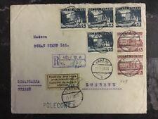 1938 Łódź  Poland Post Censored Cover to Lucerne Switzerland Philatelist Used