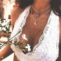 Bohemia Moon Crystal Pendant Necklace Choker Multilayer Necklace Women Jewelry Z