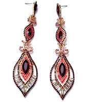 4 Inch Pageant Rhinestone Crystal Chandelier Earrings Red