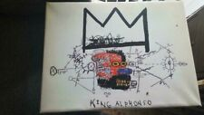 """Jean-Michel Basquiat 16""""x12"""" King Alponso 1982 Canvas Oil Painting on Wood Frame"""