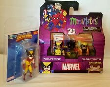 Marvel MiniMates Wolverine Sabretooth action figures mini & Micro Bobbles lot