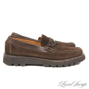 Salvatore Ferragamo Brown Suede Chunky Sole Gunmetal Gancini Loafers Shoes 10 NR