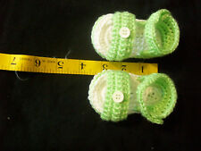 BABY Booties Sandals Size 3m to 6M  Hand Crochet White & Lime Green Sandals
