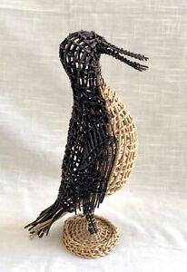 Hand Woven Free Standing Rattan/Wicker/Basket Penguin/Bird Figure
