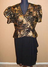 PATRA Black Metallic Gold 2 pc LOOK Puff Sleeves Peplum Sheath Dress Size 12/14