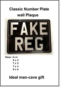 CLASSIC WALL PLAQUE rear number plate style gift for bike scooter motorcycle fan