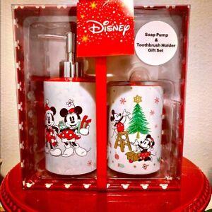 Disney Mickey & Minnie Christmas Soap Pump/Toothbrush Holder Set, NWT