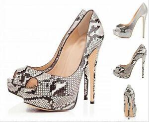 Womens Snakeskin Printed Open Toe Stilettos Super High Heel Platform Shoes Pumps