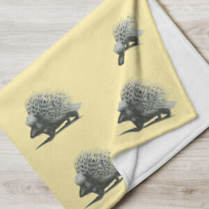 Soft and Silky Throw Blanket Vintage Porcupine Design Grey and Yellow