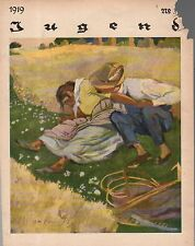 1919 Jugend May 30 German Art Nouveau Cover - Love in the Wheat field