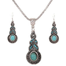 Charm Elegant Retro Turquoise Dangel Hook Earrings & Necklace Jewelry Sets  R