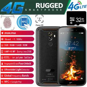 4G Rugged Android 9.0 Smartphone NFC Fingerprint Face Dual SIM Waterproof +32GB