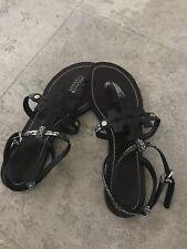 1339daf6d122f3 Tory Burch Size 7 Chandler Snake Embossed Flat Thong Sandal T Strap Ankle  Strap