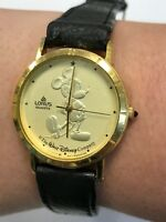 Vintage Disney Mickey Mouse Coin Face Gold LORUS Quartz Black Wrist Watch