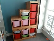 2 meubles de rangement en pins et plastique IKEA TROFAST pour chambre d'enfants