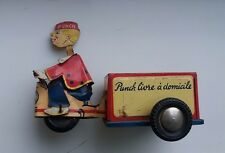 Vintage Fer Blanc Penny JOUETS MONT BLANC Punch Delivery Cart, friction jouet, France