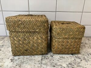 Vintage Boho Woven Wicker Boxes Baskets With Lids Set Of 2 Home Decor