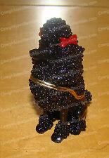 Bejeweled Enamel Black POODLE Trinket Box (by Kubla Crafts, 3487B)
