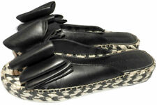 Sigerson Morrison Verane Flat Wedge Espadrilles Slides Mules Black Bow Shoes 9