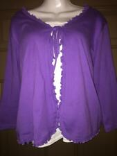 Classic Blues women's Purple XL top shirt blouse tie in front 3/4 SL cotton