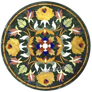 14 Inches Green Marble Coffee Table Top Yellow Flower Art Corner Table for Home