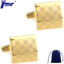 Fashion Cuff Links Men Gold Laser Engraving Shirt Cufflinks With Velvet Bag