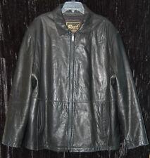 Reed Men's Soft Leather Black Jacket Coat Zip Black Lined Size XL